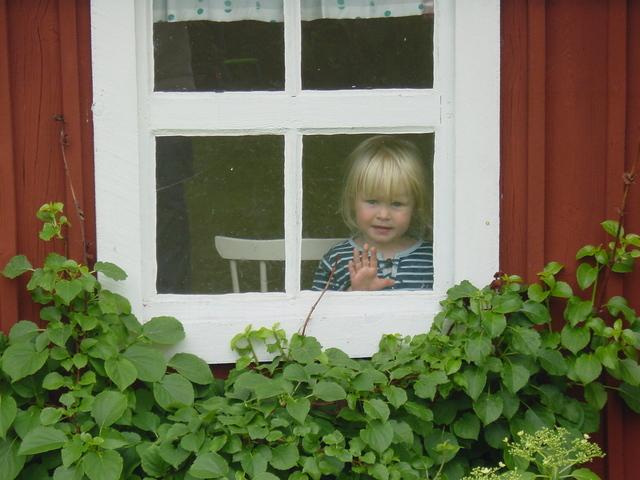 Malé dievča za oknom